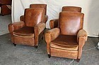 Stephens set of Four French Leather Club Chairs