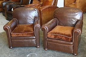Chocolate Deco French leather Club Chairs