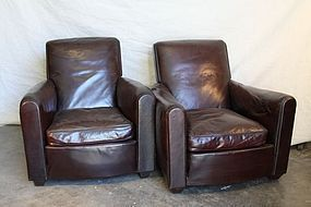 Bordeaux Arche Lounge French Leather Club Chairs