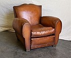 Vintage French Leather Club Chair St. Michel Mustache