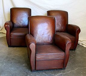 Vintage French Club Chairs Dieppe Slopeback Set of 3