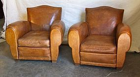 Vintage French Club Chairs Gendarme Chapeau des Alps