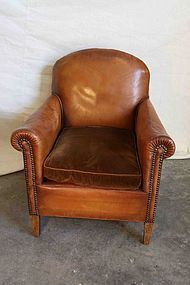 Vintage French Leather Club Chair Nailed Bern Single