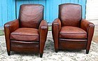 Vintage French Club Chairs Brest Caramel Slopeback Pair