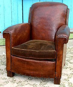 Vintage French Club Chair - Colmar Dark Nailed Solo