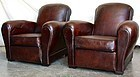 Vintage French Club Chairs - Bergerac Rollback Pair