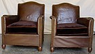 French Leather Club Chairs - Pont l