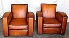 Giant Streamline French Leather Club Chairs