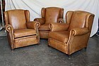 Light Tan Wingback French leather Club Chair Trio