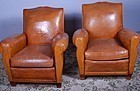 Calais Mustache back French leather Club Chairs