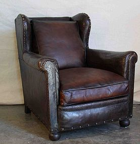 Finisterre Dark Chocolate Wingback French  Club Chair