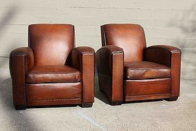 Robert le Diable Pair French Leather Club Chairs