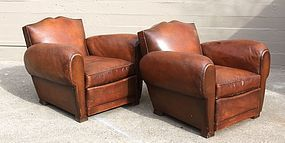 Mulhouse Mustache French leather Club chairs cirac 1940's