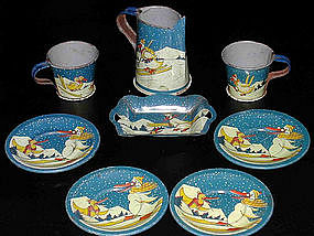 Child's Tin Toy Tea Set from France