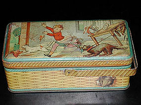 Vintage French Tin Lunch Box w Cat & Dog