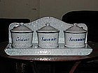 French Enamelware Covered Soap Set RARE