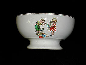 Charming French Cafe au Lait Bowl with Children
