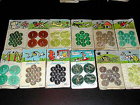 Vintage French Buttons Original Cards w/Fable Animals