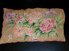 Vintage French Floral Needlepoint Pillow