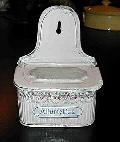 Vintage French Enamelware Allumettes Match Box Roses