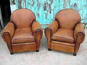 Superior French Leather Club Chairs   Large Roundback Pair