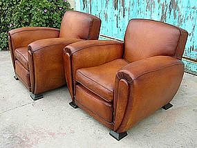 Delicieux French Leather Club Chairs   Large Deco Caramel Pair