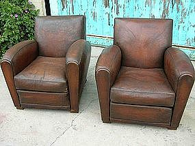 Vintage French Leather Club Chairs   Tours Pair