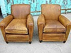 Refurbished French Leather Club Chairs Petite Rollback