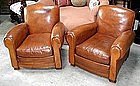 French Leather Club Chairs - Vintage Humpback Pair