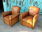 Vintage French Club Chairs - Angel Metz Pair