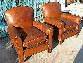 Vintage French Leather Club Chairs - Crevecoeur Pair & Vintage French Leather Club Chairs - Crevecoeur Pair (item #439888)