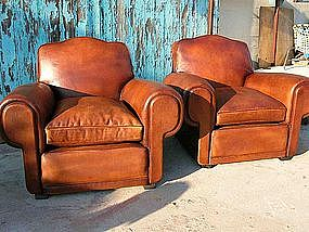 Refurbished French Club Chairs Benoit Cloverback Pair