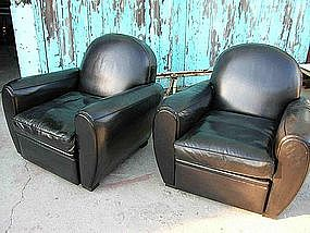 Refurbished French Leather Club Chairs Modern Noir Pair