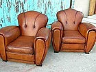 Refurbished French Leather Club Chairs - Button Clover