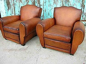 french leather club chairs classic cognac moustache item 490402