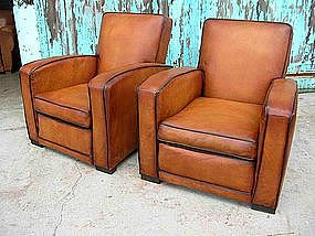 French Leather Club Chairs Normandie Square Refurbished