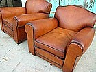 French Leather Club Chairs Ambassador Refurbished Pair