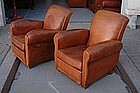 Vintage French Club Chairs Jean Jacques Slopeback Pair
