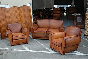 french club chairs and couch cognac moustache salon set item 596601. Black Bedroom Furniture Sets. Home Design Ideas