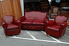 French Club Chairs and Couch Vintage Red Salon Set