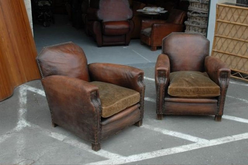 - Vintage French Club Chairs Bambino Nail Head Pair (item #598532)