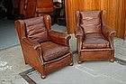 Vintage French Club Chairs St. Ouen Wingback Pair