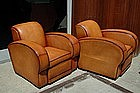 French Club Chairs - Restored Streamline Rollback Pair