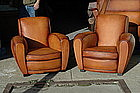 French Club Chairs Caramel Arche Restored Pair