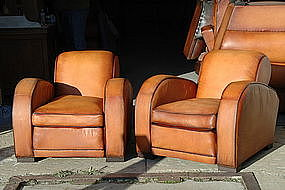 Gentil French Leather Club Chairs Erton Le Mans Pair