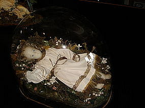 Victorian or French Mourning Doll Wax Baby Girl Saint