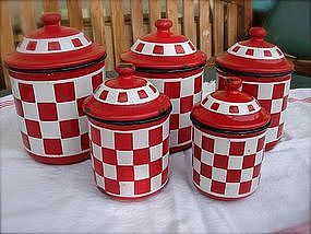 Vintage French Enamelware Canister Set Red Checkerboard