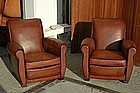 Vintage French Club Chairs Brun Slopeback Pair