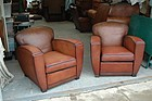 Vintage French Leather Club Chairs - d