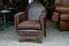 Vintage French Leather Club Chair Clovis Gothic Single